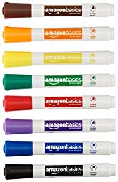 AmazonBasics Low-Odor Dry Erase Markers - Chisel Tip - 8 Pack (Assorted Colors)