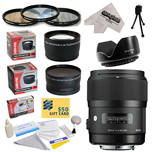 Sigma 340109 35Mm F1.4 Dg Hsm Lens For The Pentax Ist D, Ist Ds, Ist Ds2, Ist Dl, Ist Dl2, K10D, K20D, K-M, K-R, K-X, K-5, K-7, K100D/K110D, K100D Super, & K200D Dslr Cameras Includes 3 Year Extended Lens Warranty + 0.43X High Definition Ii Wide Angle Pan