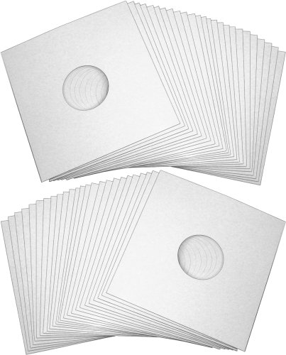 50-12-Record-Jackets-White-Glossy-Finish-With-Hole-12JWWHHH-Protect-Against-Dust-and-Wear