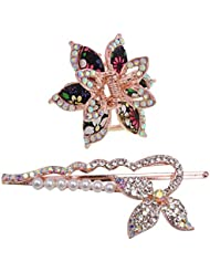 My DT Lifestyle STONE STUDD LEAF SHAPE CLUTCHER AND METAL HAIR PIN COMBO (WHA10)
