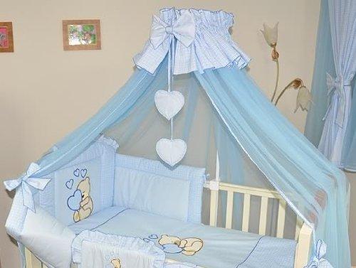 Stunning Baby baldacchino/zanzariera per lettino + montaggio/supporto, Blu Cuori