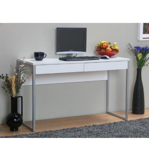 Schreibtisch-Computer-PC-Tisch-Arbeitstisch-Function-2-Schubladen-Bro-wei