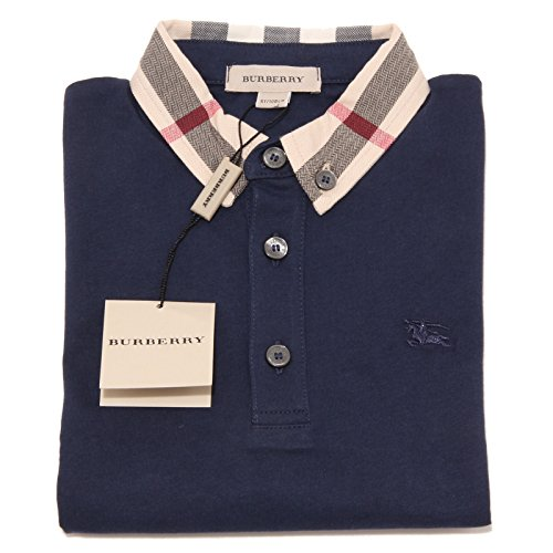 3638O polo BLU bimbo BURBERRY check cotone maglie t-shirt kids [14YEARS ]