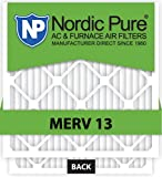 Nordic Pure 20x20x4M13-2 20x20x4 MERV 13 Pleated AC Furnace Air Filter, Box of 2, 4-Inch