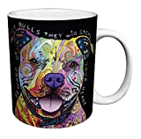 Dean Russo Dog Pit Bulls Steal Your Heart Quote Modern Animal Art Porcelain Gift Coffee (Tea, Cocoa) 11 Oz. Mug