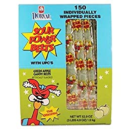 SOUR POWER BELTS WRAP GREEN APPLE ( 150 in a Pack )