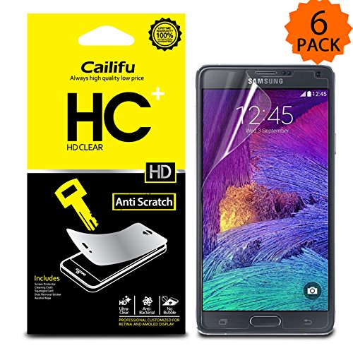 Cailifu [HD Clear] Samsung Galaxy Note 4 IV Highest Quality Premium High Definition Ultra Clear Screen protector with Lifetime Replacement Warranty [6-Pack] – Retail Packaging 2014