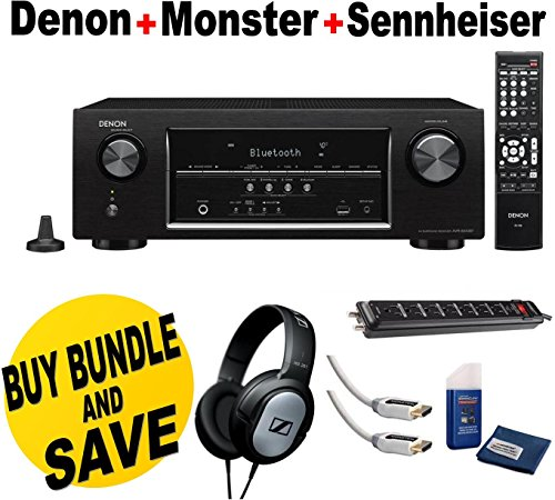 Denon AVR-S510BT 5.2 Channel Full 4K Ultra HD A/V Receiver with Bluetooth + Monster Home Theater Accessory Bundle Two Monster 6 ft. High Speed HDMI Cables Monster Home Theater Power Center and Screen Cleaning Kit + Cloth + Sennheiser HD201 Lightweight Ove