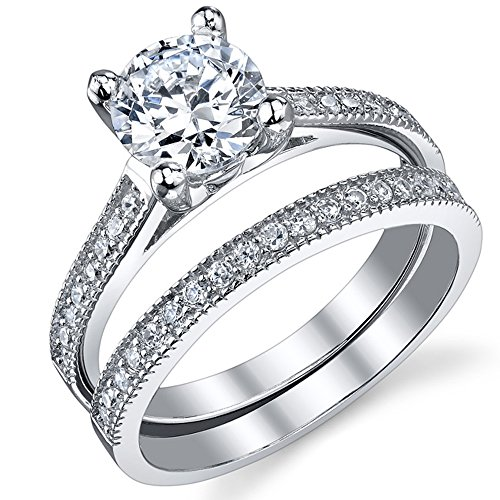 1.25 Carat Round Brilliant Cubic Zirconia Sterling Silver 925 Wedding Engagement Ring Band Set 7 (Cubic Zirconia Ring Set compare prices)