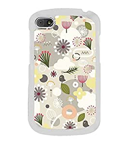 Grey White Flower Pattern 2D Hard Polycarbonate Designer Back Case Cover for BlackBerry Q10
