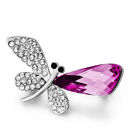 Pugster Christmas Gifts Dragonfly Clear Detailed &fuchsia Animal Swarovski Crystal Rhinestone Brooches Pins