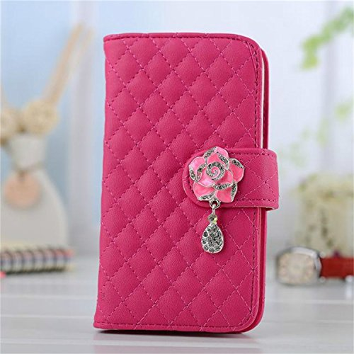 Borch Luxury Rhombus Design Camellia Pendant Purse Fashion Wallet Folio Leather Case Cover For Samsung Galaxy S4 I9500 (Rose Red) front-48192