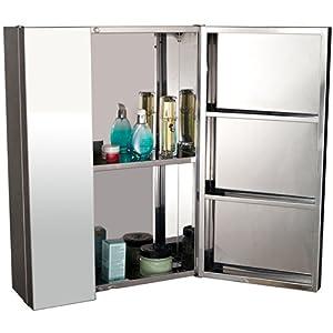 Armoire miroir rangement toilette salle de bain meuble mural double portes acier inoxydable for Amazon meuble salle de bain