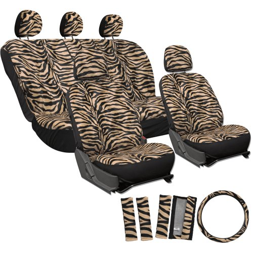 Oxgord 17Pc Set Zebra Animal Print / Camel Beige, Tan Auto Seat Covers Set - Airbag Compatible - Front Low Back Buckets - 50/50 Or 60/40 Rear Split Bench - 5 Head Rests - Universal Fit For Car, Truck, Suv, Or Van - Free Steering Wheel Cover front-936656