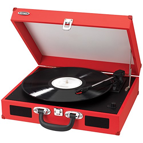 Jensen Jta-410-R Portable 3-Speed Stereo Turntable With Built-In Speakers (Red)
