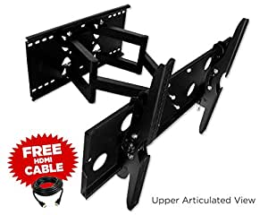 """Mount-It! 32"""" 36"""" 67"""" 40"""" 42"""" 46"""" 50"""" 52"""" 55"""" LCD Compatible Articulating, Swivel, Pivot, TV Wall Mount Bracket & Free HDMI Cable"""