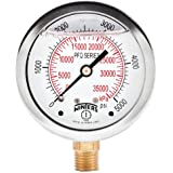 "Winters PFQ Series Stainless Steel 304 Dual Scale Liquid Filled Pressure Gauge with Brass Internals, 0-5000 psi/kpa,2-1/2"" Dial Display, +/-1.5% Accuracy, 1/4"" NPT Bottom Mount"