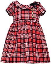 Little Girls Red Tartan Plaid Light Weight Corduroy Collar Dress