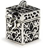 Darice BG2029 Fleur De Lis Shaped Prayer Box Charm, Antique Silver