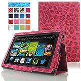 MoKo Amazon Kindle Fire HD 7 ケース - MoKo Amazon Kindle Fire HD 7 インチタブレット専用薄型スタンドケース。Leopard RED (オートスリープ機能付き)