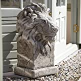 Large Garden Statues - Pair of African Lions Stone Sculptures