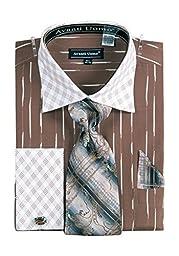 Men\'s Check Pattern Two Tone French Cuff Shirt Cufflinks - Brown 15.5 33-34