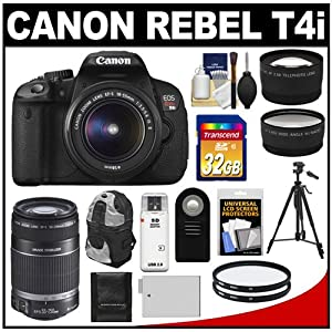 Canon EOS Rebel T4i Digital SLR Camera Body & EF-S 18-55mm IS II Lens with 55-250mm IS Lens + 32GB Card + Tripod + Battery + Backpack + Filters + Remote + Telephoto & Wide-Angle Lenses + Accessory Kit