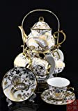 Ufingo-White And Gold Flower 13 European Retro Titanium Ceramic Tea Set Tea Service For Wedding