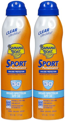 Banana Boat Ultra Mist Sport Performance Broad Spectrum Sun Care Sunscreen Spray - Twin Pack - SPF 30, 6 ounce