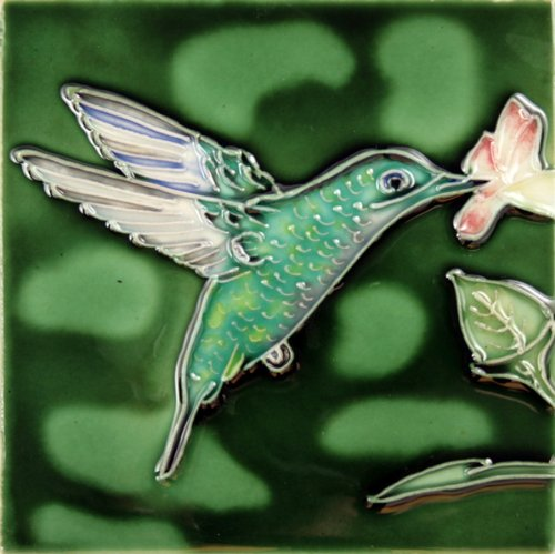 "Decorative Ceramic Art Tile - 4"" x 4"" - Hummingbird on Green Right"