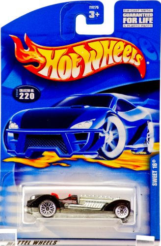 2000 - Mattel - Hot Wheels - Collector #220 - Sweet 16 - Black / Red Interior - Flames Graphics - Custom Wheels - New - Out of Production - Rare - Limited Edition - Collectible