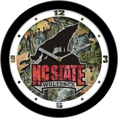 Suntime North Carolina State Wolfpack Suntime 12 Camo Glass Crystal Wall Clock - Ncaa College Athletics