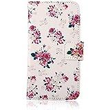 YOKIRIN Blume Design Pink Flip Cover Leder Tasche Case Schutzhülle für Samsung Galaxy S4 Mini I9190 Hülle Handy Tasche Etui Schale mit Standfunktion Kredit Kartenfächer (color -1)