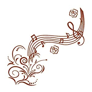 Amazon.com - Brown Music Notes with Flowers Wall Decals Removable Wall