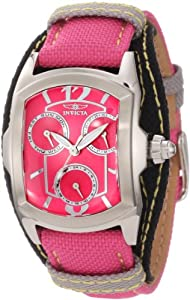 Invicta Women's 12274 Lupah Hot Pink Dial Hot Pink and Black Canvas Watch