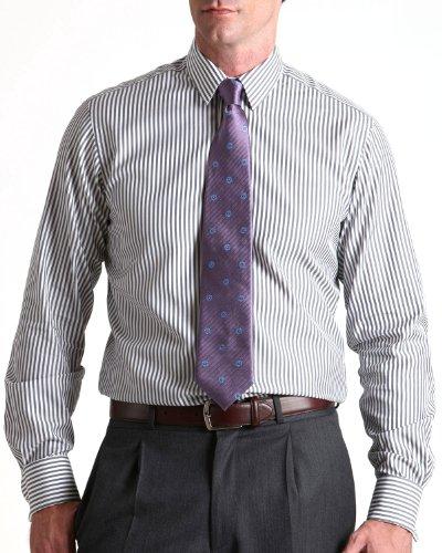 Savile Row Mens Black White Bengal Strip Slim Fit Formal Shirt Neck Size 15