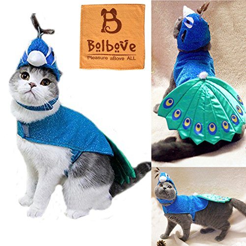bro bear pet peacock costume with hat for small dogs cats blue cat and dog clothes. Black Bedroom Furniture Sets. Home Design Ideas