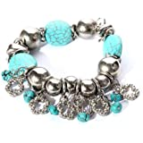 Yazilind Jewellery Turquoise Stretch Charming Tibetan Silver Bracelet Bangle for Women