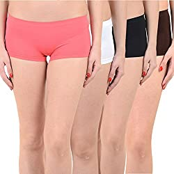 Mynte Women's Sports Shorts (MEWIWCMBP-SHR-102-101-100-99, Pink, White, Black, Brown, , Free Size, Pack of 4)