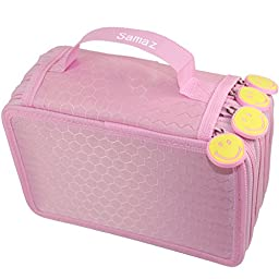 Samaz 72 Inserting Super Large Capacity Multi-layer Students Pencil Case Pen Bag Pouch Stationary Case Makeup Cosmetic Case Bag (Pink)