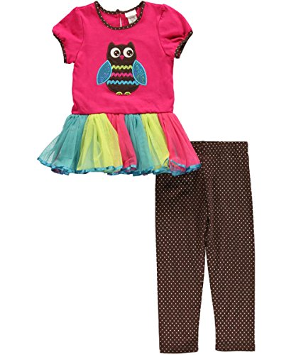 "Youngland Little Girls' Toddler ""Glitter Wing Owl"" 2-Piece Dress Set - Pink/Multi, 4T front-1013545"