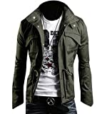 Zicac Men's Fashion New Military Casual Jacket Zip Button Coat (US:M/Asia...