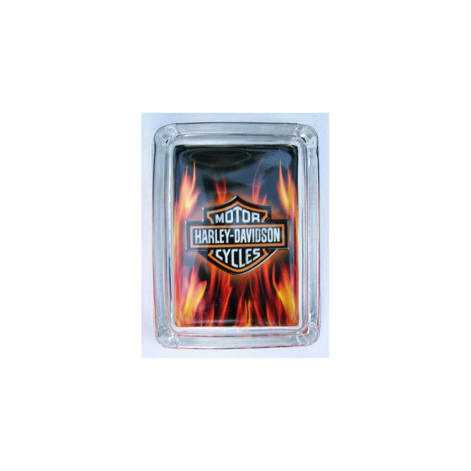 Harley Davidson Motorcycle Logo Flames Cigarette Ashtray
