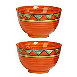 Katori Dessert Bowl Ceramic/Stoneware in Orange Triangle (Set of 2) Handmade By Caffeine