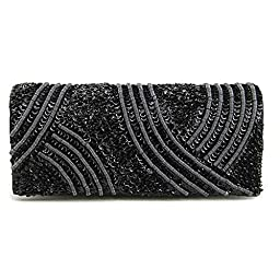 La Regale Tribal Matte and Shine Clutch, Black, One Size