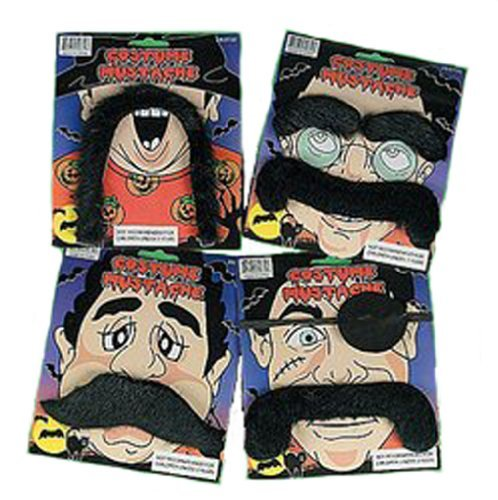 Fun Express 12 Fake Moustaches - Assorted Shapes & Sizes! Costume Fun Mustache