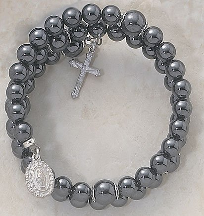 Faux Hematite Wrap Around Five Decade Catholic 6MM Rosary Bracelet Fine Religious Jewelry