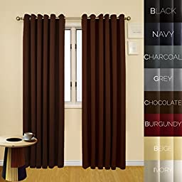 Prestige Home Fashion Wide Width Thermal Insulated Blackout Curtain - Antique Bronze Grommet Top - Chocolate - 80\