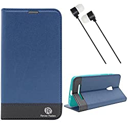 DMG Asus Zenfone 5 Flip Cover, DMG PRaiders Premium Magnetic Wallet Stand Cover Case for Asus Zenfone 5 (Pebble Blue) + Black Stereo Earphone with Mic and Volume Control