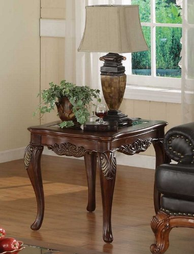 Cheap Accent End Table Queen Anne Style in Warm Brown Cherry (VF_HE1288-305)